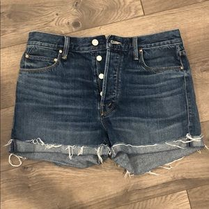 MOTHER SUPERIOR button fly jean shorts